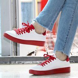 [mumka] Basic Red Texture Sneakers