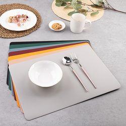 양면 인조가죽 사각 식탁매트 4P