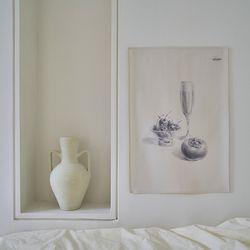 소묘 드로잉 패브릭 포스터. 가리개 커튼(행잉L)