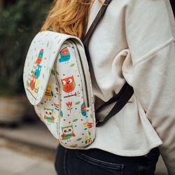 [mumka] Colorful Owls Beige Backpack