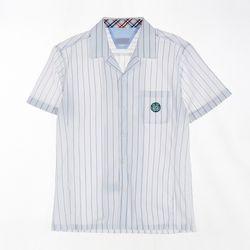 [교복아울렛] 화이트 스트라이프 반팔 남자 셔츠 교복