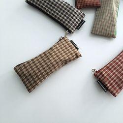 빈티지 베이지 체크 필통(Vintage Beige check pencil case)