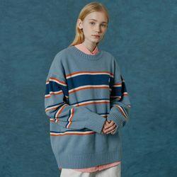 Small original logo stripe knit-sky blue