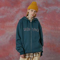 Signature patch logo hoodie zipup-deep blue