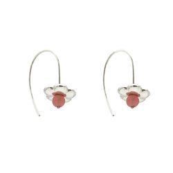 채화 산호색 볼 귀걸이_cheahwa coral ball earring