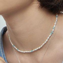 파도색 진주 목걸이_Sea blue pearl earring