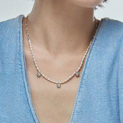 잔치 꽃 진주 목걸이_Janchi flower pearl necklace