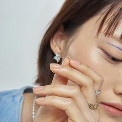 채화 파도색 볼 귀걸이_cheahwa sea blue ball earring