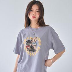[러브이즈트루] LVG HEART KITTY TEE (GRAY) 티셔츠