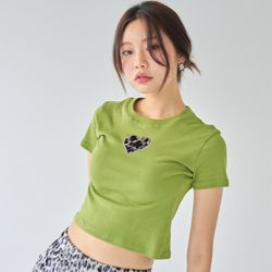 [러브이즈트루] LVG LEOPARD HEART T (LIGHT GREEN) 티셔츠