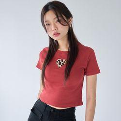 [러브이즈트루] LVG LEOPARD HEART T (RED) 티셔츠