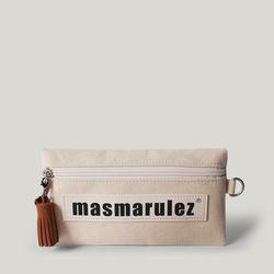 [마스마룰즈] 가죽 라벨포인트 펜슬케이스 필통  Ivory