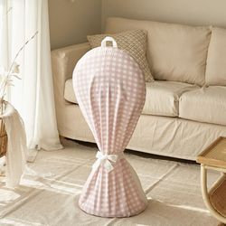 선풍기커버 패브릭 지퍼형 캔디체크 핑크