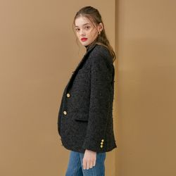 TWO BUTTON TWEED JACKET(BLACK)
