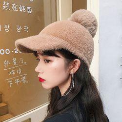 포우 왕방울 털 볼캡 겨울 모자