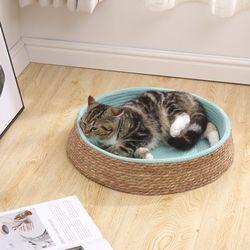 고양이 원형 방석 스크래쳐 밧줄 면줄 휴식공간 매트