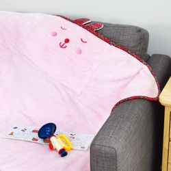 하라홈 베개겸용 주머니 베어래빗담요 핑크 100x70