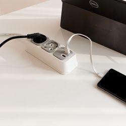 부엉이클릭탭 USB Q2 2구 1.5M (그레이)