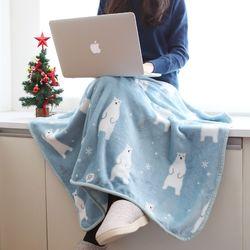 따뜻한 겨울 포근한 양면극세사 무릎담요 파스텔베어
