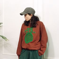 그린 진주 파인애플 맨투맨 티셔츠n925