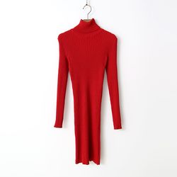 Sweet Turtleneck Knit Dress