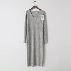 Maille Wool N Cashmere Golgi V-Neck Long Dress