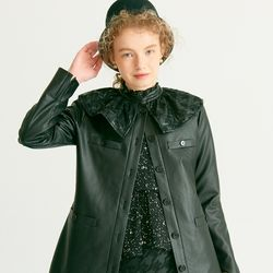 Ruffle Point Leather Jacket Black
