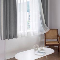 까르데코 린넨룩모카+무지 속커튼 창문 암막커튼 4장세트