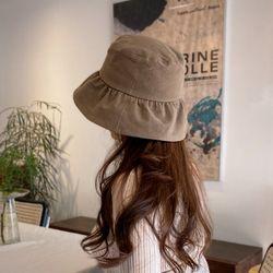 프릴 러플 코튼 버킷햇 여자 벙거지 모자