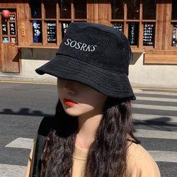 쏘크 여성 코듀로이 레터링 벙거지 버킷햇 모자