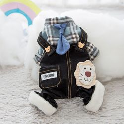 봉봉펫닷컴 강아지 고양이 체크 라이언 멜빵