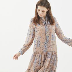[마나비스세븐] GEOMETRY PATTERN CHIFFON DRESS PINK