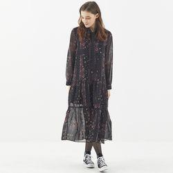 [마나비스세븐] GEOMETRY PATTERN CHIFFON DRESS BLACK
