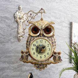 부엉이 패밀리 양면시계(골드 실버)