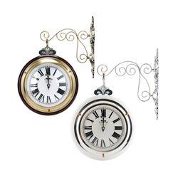 모던 클래식 양면시계(브라운 화이트)