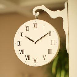 화이트우드 무소음 인테리어 양면시계