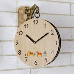우드 스타일 양면 벽시계무소음 양면시계