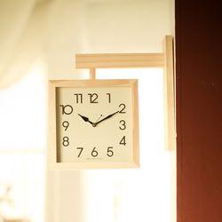 [국내제작] 핸드메이드 원목 사각 양면 인테리어 벽시계