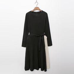Combo Knit Pleated Dress