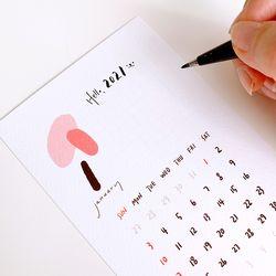 2021년 감성 엽서 달력 세트 (13매+받침대)