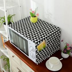전자레인지 세탁기 덮개 먼지커버 폼폼 패턴 포켓커버 소형