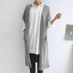 N Lamswool Long Shawl Cardigan