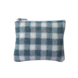 pastel blue check pouch