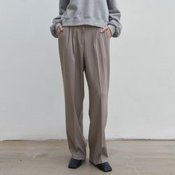 MILD TUCK LONG SLACKS BEIGE