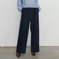WIDE BANDING LONG SLACKS NAVY
