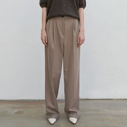 TWO TUCK SET-UP LONG SLACKS BEIGE