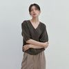 PUFF SHORT SLEEVE KNIT CARDIGAN BROWN