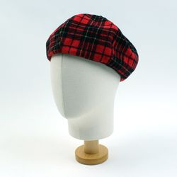 Tartan Check Wool Red Beret 체크베레모