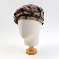 Check Beige Wool Beret 체크베레모