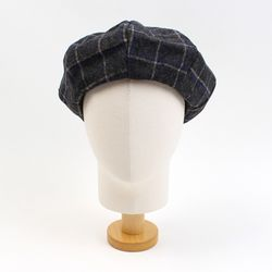 Retro Check Gray Wool Beret 체크베레모